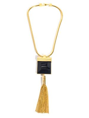 Onyx and tassel necklace