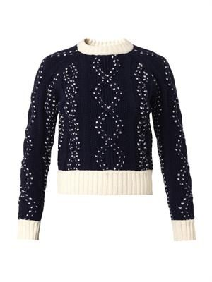 Bi-colour cable-knit cropped sweater