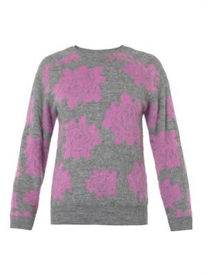 Floral intarsia textured-knit sweater