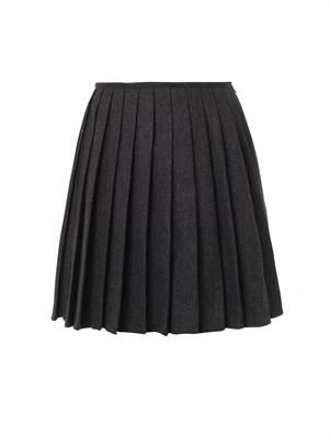 Pippa pleated wool skirt