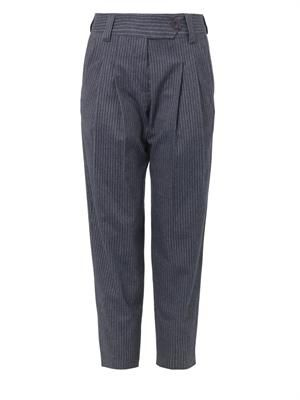 Pinstripe brushed-cotton trousers