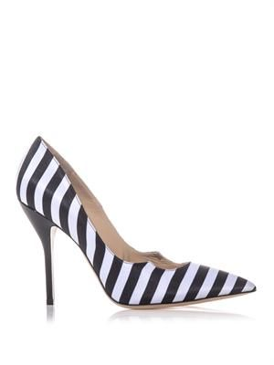 Zenadia stripe silk and leather pumps