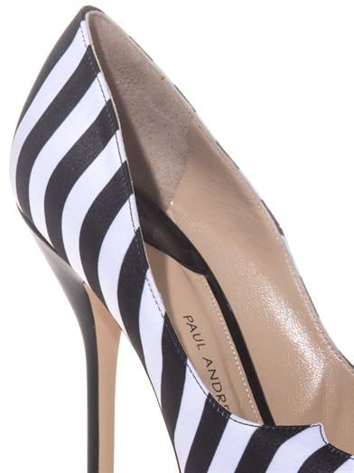 Paul Andrew Zenadia stripe silk and leather pumps