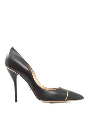 Corinth brass-piped leather pumps