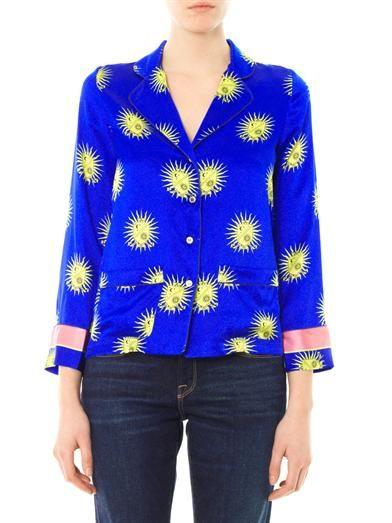 Raphaëlla Riboud George blason-print silk-satin shirt