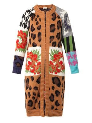 Leopard and floral intarsia-knit coat