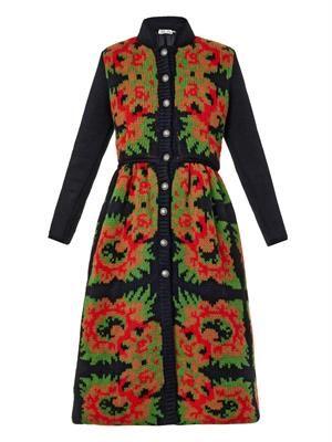 Floral intarsia-knit coat