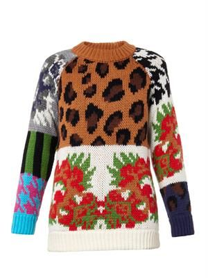 Leopard and floral intarsia-knit sweater