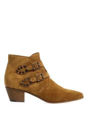 Rock double-buckle suede ankle boots