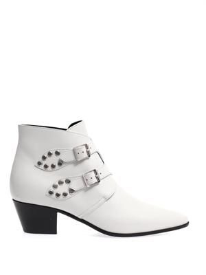 Rock double-buckle leather ankle boots