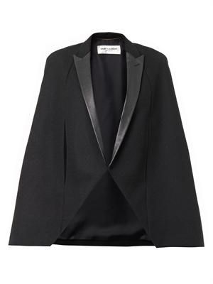 Leather-lapel wool cape