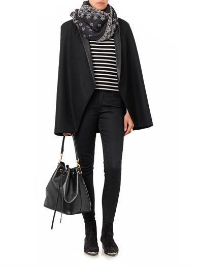 Saint Laurent Leather-lapel wool cape