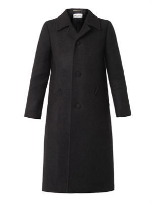 Wool and angora-blend tailored coat