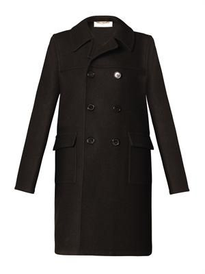 Raw wool pea coat