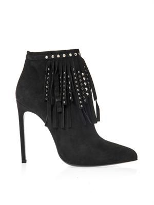 Paris fringed suede ankle boots