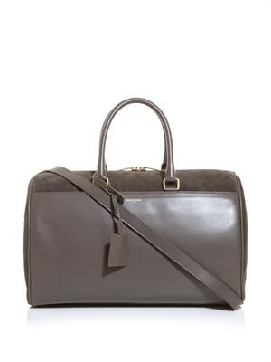 Suede and leather duffle bag