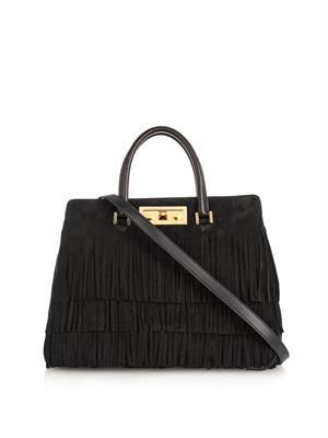 Trois Clous fringed suede tote