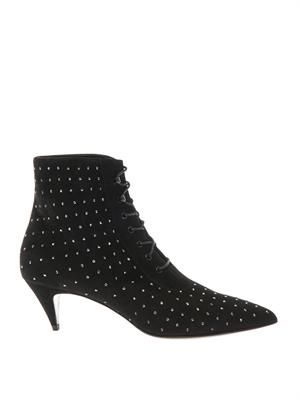 Cat crystal-studded suede ankle boots