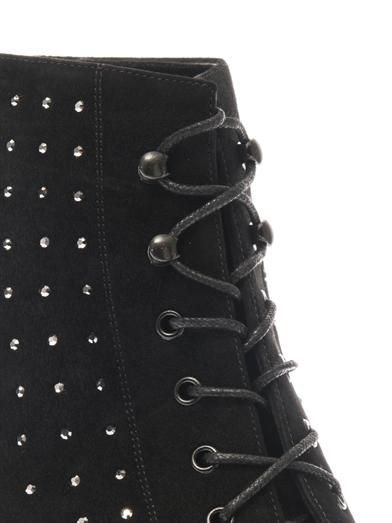 Saint Laurent Cat crystal-studded suede ankle boots