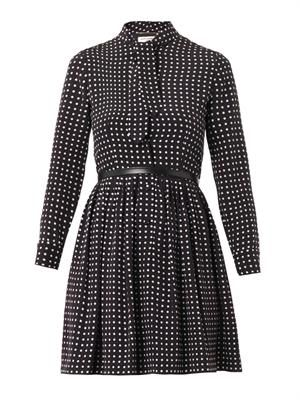 Polka-dot-print silk dress