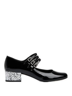 SAINT LAURENT Babies glitter-heel patent leather shoes