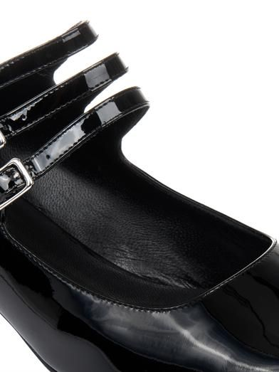 Saint Laurent Babies glitter-heel patent leather shoes