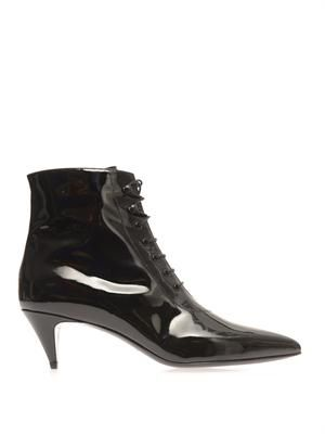 Patent leather point-toe ankle boots