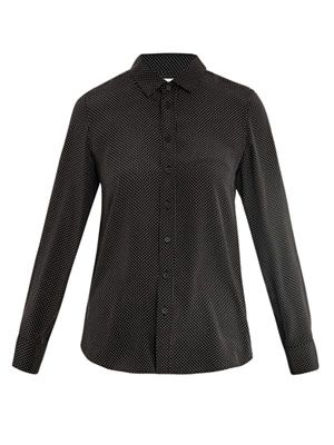 Micro-dot silk blouse