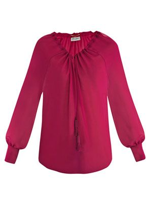 Open-neck tie-detail blouse
