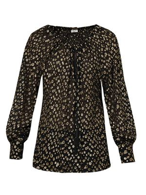 Metallic spot blouse