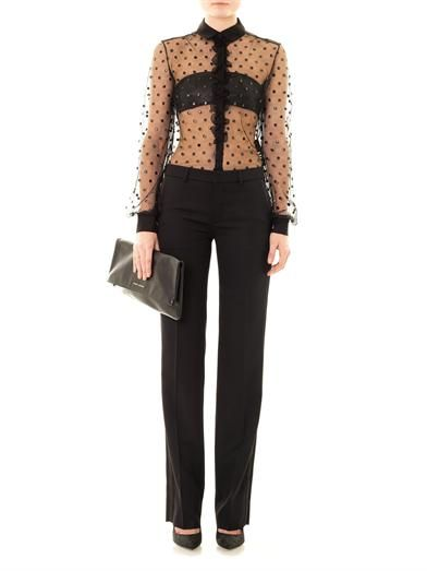 Saint Laurent Polka-dot sheer blouse