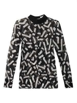 Graffiti-print turned-collar blous