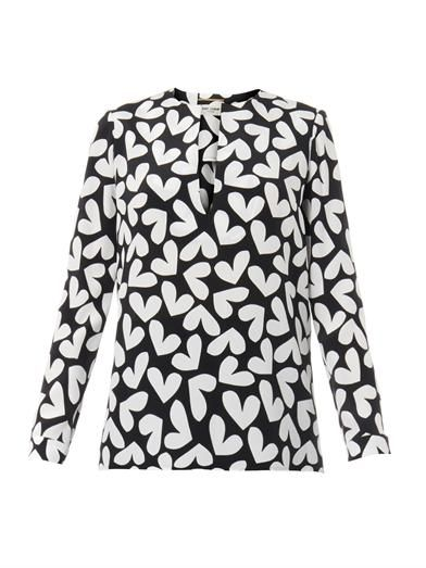 Saint Laurent Heart-print silk blouse