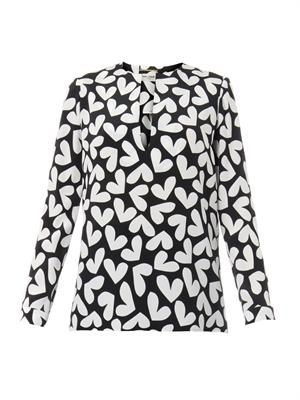 Heart-print silk blouse