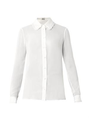 Pleat-detail silk-georgette shirt