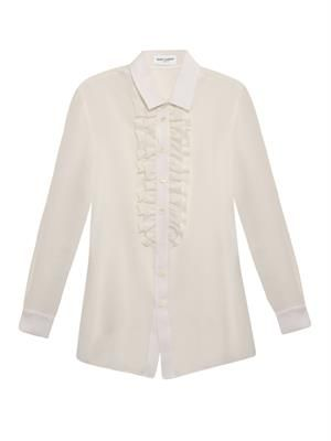 Ruffle-placket silk shirt