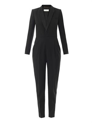 Wool-gabardine tuxedo jumpsuit