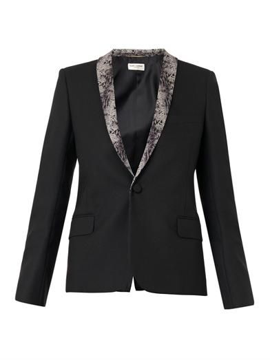 Saint Laurent Python-print-collar wool blazer