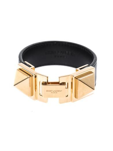 Saint Laurent Double-stud leather bracelet