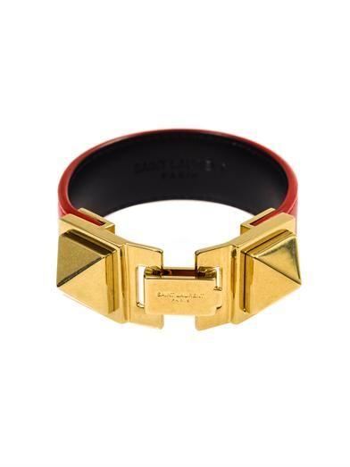 Saint Laurent Double stud leather bracelet