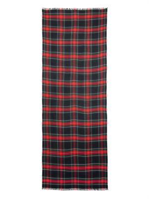 Tartan-check cashmere scarf