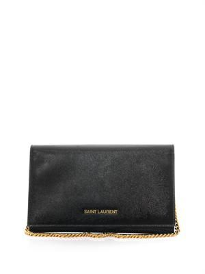 Patent grainy leather clutch