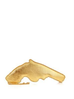 Metallic leather gun clutch