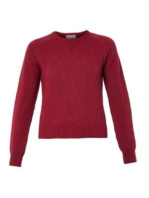 Crew-neck wool-blend sweater