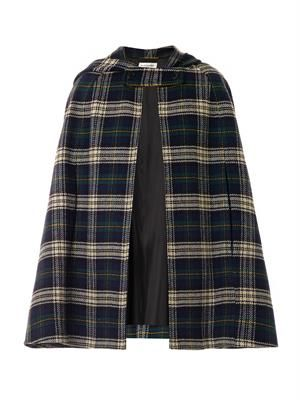 Tartan wool hooded cape