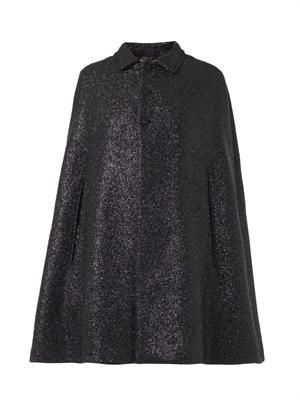Lurex-tweed collared cape