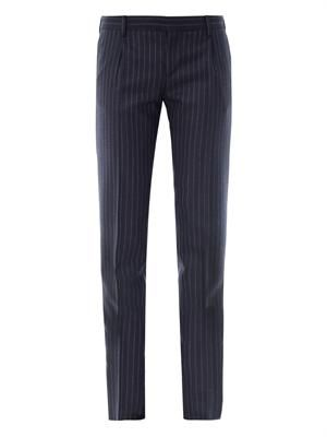 Pinstripe tailored wool trousers