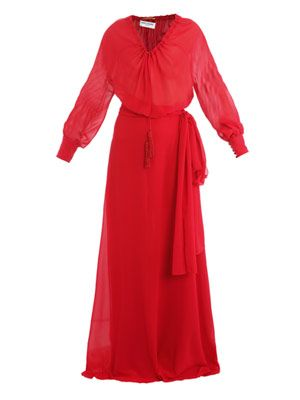 Balloon-sleeve full-length dress