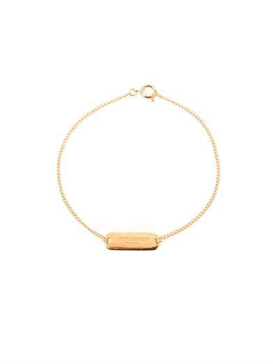 Saint Laurent Gold vermeil bapteme ID bracelet