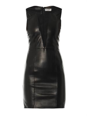 Mesh-insert leather dress